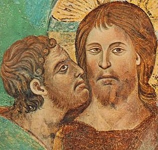 detail of a fresco depicting Judas Iscariot betraying Jesus
