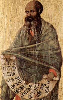 detail from a painting of Malachi the Prophet, c.1309, by Duccio, altarpiece of the cathedral of Siena, Italy, currently in the Museo dell'Opera del Duomo