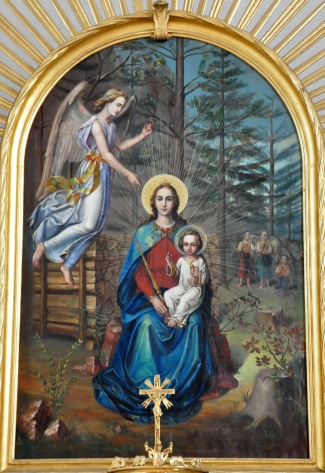 painting of the Madonna and Child by Peter Markovič, 1906; image based on the description of the 'Maria in the Forest' apparition; main altar of the Holy Mary in the Forest church at Dolina, Grafenstein, Carinthia; swiped from Wikimedia Commons