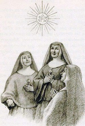 detail of a holy card of some of the Martyred Sisters Adorers, date and artist unknown; swiped from Santi e Beati
