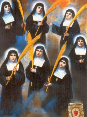 Martyred Visitationists of Madrid holy card, date and artist unknown; swiped from Santi e Beati