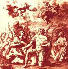 detail of an antique holy card of the Martyrs of Camerino; swiped from Santi e Beati
