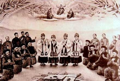 detail of a painting of some of the Martyrs of China, date and artist unknown; swiped from Santi e Beati
