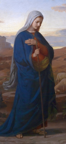 detail of the painting 'Am Abend vor Christi Geburt' (On the eve of the birth of Christ) by Michael Rieser, 1869; photographed by Dorotheum; swiped from Wikimedia Media