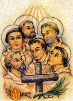 detail of an Italian holy card of the Mercedarian Martyrs of Morocco by Bertoni, date unknown; swiped from Santi e Beati