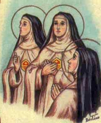 detail of an antique Italian holy card of the Mercedarian Nuns of Berriz, by Bertoni, date unknown; swiped from Santi e Beati