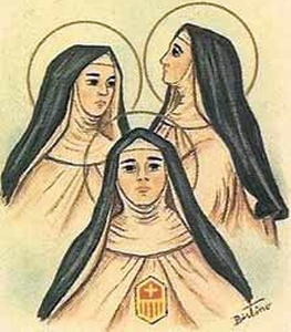 detail of an antique holy card of the three Mercedarian sisters, by Bertoni, date unknown; swiped from Santi e Beati