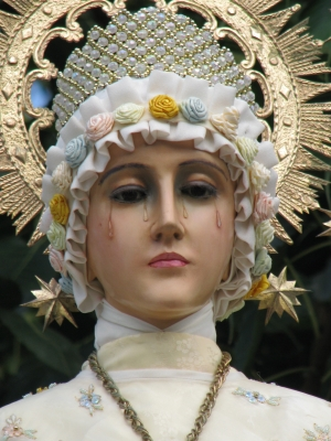 photograph of a statue of Our Lady of La Salette, taken 1 December 2007, by nikolastan, swiped off Wikipedia