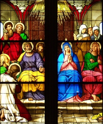 detail of a stained glass window depicting the descent of the fire to the apostles at Pentecost; mid-19th century, possibly by Mayer of Munich, Germany; Cologne Cathedral, Bavaria, Germany; photographed on 1 May 2006 by Raimond Spekking; swiped from Wikimedia Commons