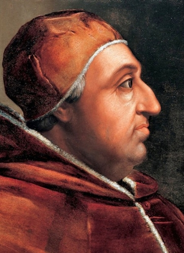 detail of a portrait of Pope Alexander VI by Cristofano dell'Altissimo, late 16th century, Corridoio Vasariano, Florence, Italy