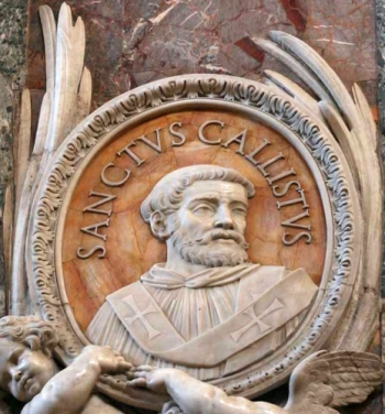 detail of a bas-relief portrait medallion of Pope Saint Callistus I, date and artist unknown; Saint Peter's Basilica, Rome, Italy