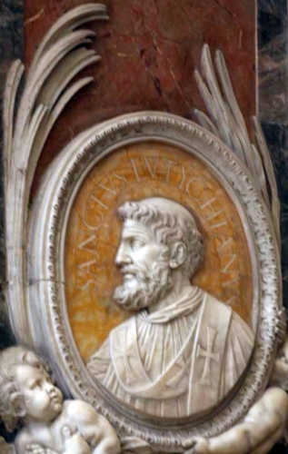 detail of a bas-relief portrait medallion of Pope Saint Eutychian, date and artist unknown; Saint Peter's Basilica, Rome, Italy