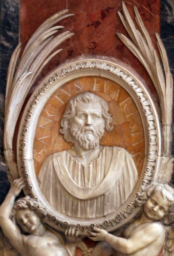 bas relief medallion portrait of Pope Saint Evaristus, date and artist unknown; Saint Peter's Basilica, Rome, Italy