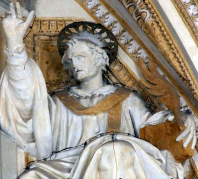 detail of a statue of Pope Saint Hyginus; date unknown, artist unknown; portico of Saint Peter's Basilica, Vatican City, Rome, Italy; photographed in May 2006 by Bocachete; swiped from Wikimedia Commons