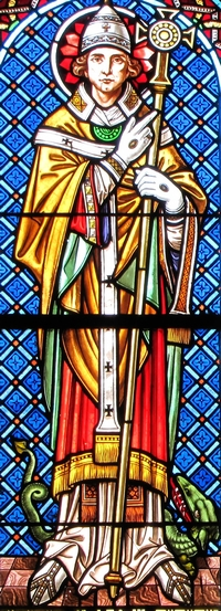 detail of a stained glass window of Pope Saint Leo IX; by Jean Weyh in the 19th century; Chapelle Saint-Léon, Alsace, Haut-Rhin, France; photographed in 2014 by Ralph Hammann; swiped from Wikimedia Commons