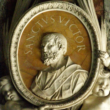 medallion with a portrait of Pope Saint Victor I; date and artist unknown; Saint Peter's Basilica, Rome, Italy; photographed on 25 July 2011 by Lure; swiped from Wikimedia Commons