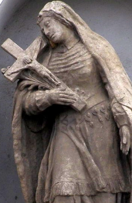 detail of a statue of Saint Agia of Hainault, c.1770, artist unknown; Prague, Czech Republic; photographed on 8 October 2009 by Dr Milan Kožíšek; swiped from Wikimedia Commons