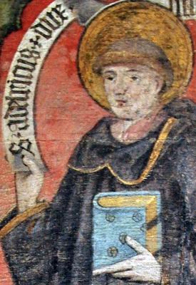 painting of Saint Adalrich, Saint Peter und Paul parish church, Ufenau island, Zürichsee, Switzerland, date unknown, artist unknown; swiped off Wikimedia Commons