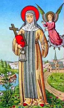 detail of an antique German Saint Aleydis of Schaerbeek holy card; swiped from Santi e Beati