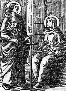 detail from an antique holy card of Saints Alodia and Nunilo, artist unknown