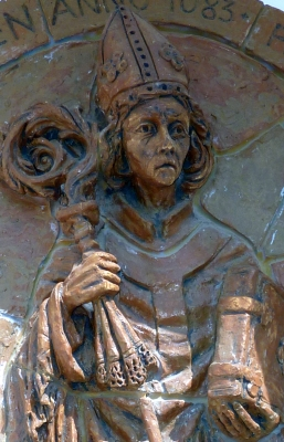 bas-relief of Saint Altmann of Passau, date unknown, artist unknown; exterior of the town hall, Karlstetten, Lower Austria; photographed on 2 May 2014 by BSonne; swiped from Wikimedia Commons