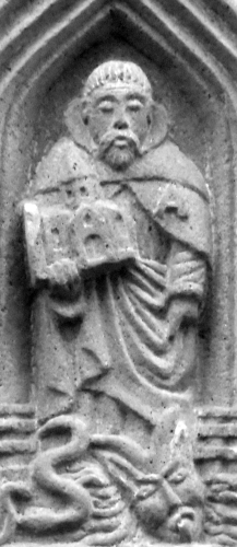 detail of a bas-relief of the coat of arms of Auvergne depicting Saint Amabilis; date and artist unknown; Riom, France; photographed on 4 May 2016 by Aavitus