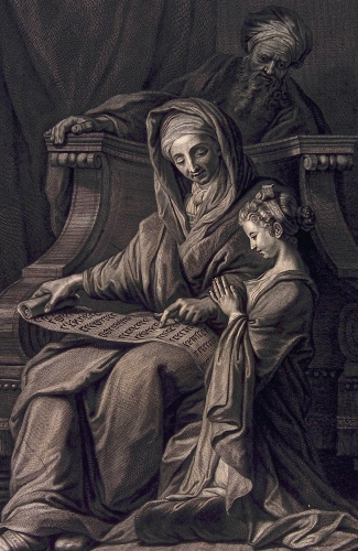 detail of an engraving of Saint Anne educating the Blessed Virgin Mary while Saint Joachim watches; early 18th century by Pierre-Imbert Drevet; Wellcome Library, London, England; swiped from Wikimedia Commons