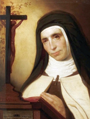 detail of a portrait of Saint Anne of Saint Bartholomew by Franz de Wilde, 1917