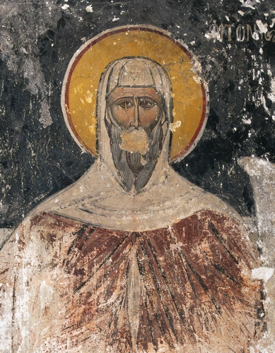 detail of a fresco of Saint Antony, 17th century, artist unknown; in the church of Ayioi Apostoloi Solaki, Athens, Greece, and was photographed on 14 July 2015 by C messier
