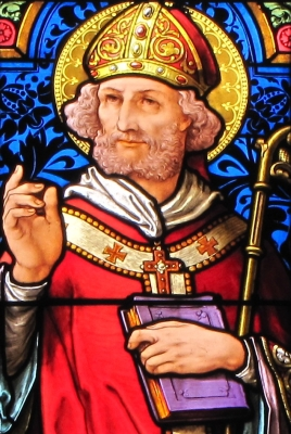 detail of a stained glass window of Saint Arbogast, date unknown, artist unknown; Saint-Médard Church, Boersch, Bas-Rhin, Alsace, France; photographed in 2014 by Ralph Hammann; swiped from Wikimedia Commons