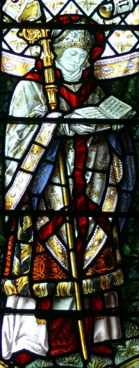 detail of a stained glass window of Saint Asaph, Shrigley and Hunt, 1909; Thomas Becket chapel, Cathedral of Saint David, Pembrokeshire, Wales; photographed on 21 July 2011 by Wolfgang Sauber; swiped from Wikimedia Commons
