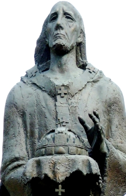 statue of Saint Astrik by György Benedek, 2000; Kalocsa, Hungary; photographed on 26 May 2008 by Csanády; swiped from Wikimedia Commons