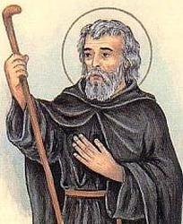 detail of an Italian holy card of Saint Benigno of Malcestine by Bertoni, date unknown; swiped from Santi e Beati