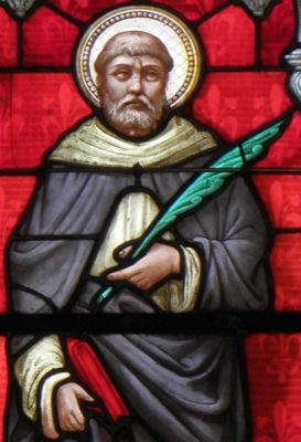 detail of a stained glass window of Saint Bieuzy of Brittany, date unknown, artist unknown; Notre-Dame et Saint-Bieuzy de Bieuz, France; photographed on 3 August 2013 by GO69; swiped from Wikimedia Commons