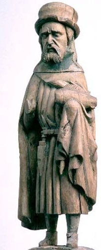 hardwood statue of Saint Botvid, artist unknown, 1350-1500 AD; Möja Möja Church, Uppland, Sweden; photographed on 6 May 1994 by Lennart Karlsson
