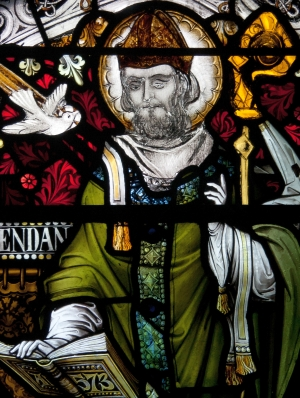 detail of a photograph of a stained glass window of Saint Brendan of Birr, Saint Brendan's Church, Birr, County Offaly, Ireland; artist unknown; photographed on 19 September 2010 by Andreas F Borchert; swiped from Wikimedia Commons