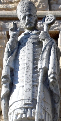 statue of Saint Clarus of Vienne, church of Saint Clair; artist unknown; photographed February 2010 by Frachet; swiped off Wikipedia