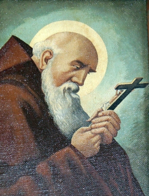 detail of a painting of Saint Conrad of Parzham; date unknown, artist unknown; monastery church of the Assumption, Pielenhofen, Germany; photographed on 6 September 2014 by DALIBRI; swiped from Wikimedia Commons