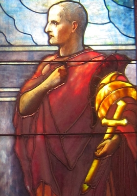 detail of a stained glass window of Saint Cornelius the Centurion, by Tiffany Studios, c.1910; Pennsylvania Academy of the Fine Arts; photographed in 2012 by Wmpearl; swiped from Wikimedia Commons