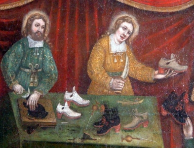 detail of the painting 'Saint Crispin and Saint Crispian', 1669 by Julien Quintin, brotherhood shoemakers; chapel of Notre-Dame de Châteaulin, Finistère, Brittany, France; swiped from Wikimedia Commons