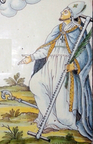 Saint Crispoldus as depicted on a votice plaque; 1780 by John Meazzi; photographed on 23 July 2014 by Fm2001; swiped from Wikimedia Commons