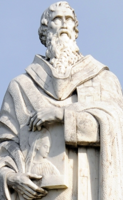 detail of a statue of Saint Cyril of Alexandria, Sanctuary of Nossa Senhora do Sameiro, Braga, Portugal; date unknown, artist unknown; photographed on 5 May 2013 by Joseolgon; swiped from Wikimedia Commons