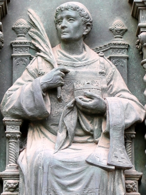 detail of a bronze sculpture of Saint Daniel the Deacon, doors of the Basilica of Saint Anthony, Padua, Italy; date unknown, artist unknown; photographed on 18 May 2014 by Alekjds; swiped from Wikimedia Commons