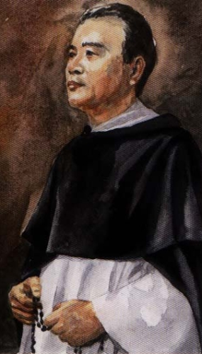 detail of a portrait of Saint Dominic Mau, date and artist unknown; swiped from Santi e Beati