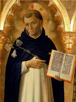 detail of a painting of Saint Dominic de Guzman by Fra Angelico, 1437; Perugia Altarpiece; swiped from Wikimedia Commons
