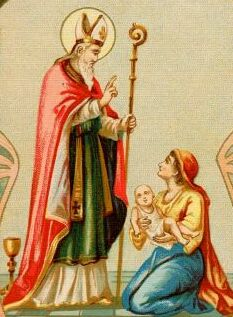 detail from a Saint Donatus of Ripacandida holy card, 1898, artist unknown
