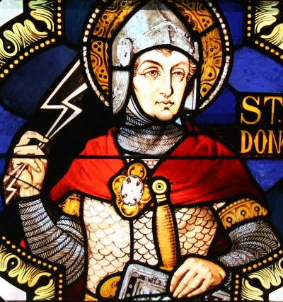 detail of a stained glass window of Saint Donatus in the church of Saint Gertrude in Barweiler, Germany, date and artist unknown; photographed on 19 July 2010 by Reinhard Hauke; swiped from Wikimedia Commons