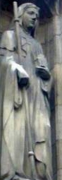 statue of Saint Ethelburga of Faremoutier, date unknown, artist unknown; church of All Hallow's, Barking, England; photographed on 5 May 2011 by Weglinde Gordon Lawson; swiped from Wikimedia Commons