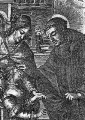 detail of an antique holy card of Saint Eustace of Luxeuil