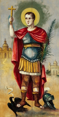 detail of a 19th century oil painting of Saint Expeditus of Melitene by an unkown artist in Palermo, Italy; swiped from Wellcome Images